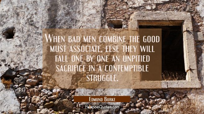When bad men combine the good must associate, else they will fall one by one an unpitied sacrifice