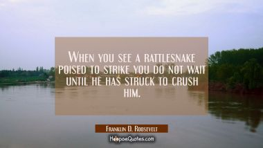 When you see a rattlesnake poised to strike you do not wait until he has struck to crush him.