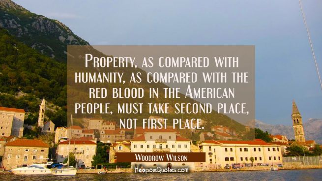 Property as compared with humanity as compared with the red blood in the American people must take