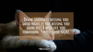 Thank goodness kissing you good night is not kissing you good bye. I will see you tomorrow. Sweet good night. Good Night Quotes