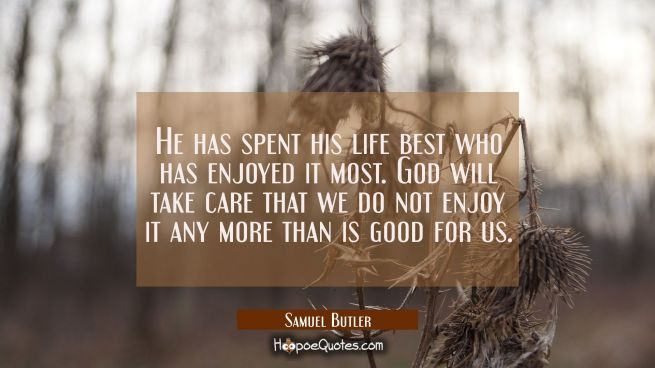 He has spent his life best who has enjoyed it most. God will take care that we do not enjoy it any