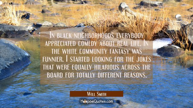 In black neighborhoods everybody appreciated comedy about real life. In the white community fantasy