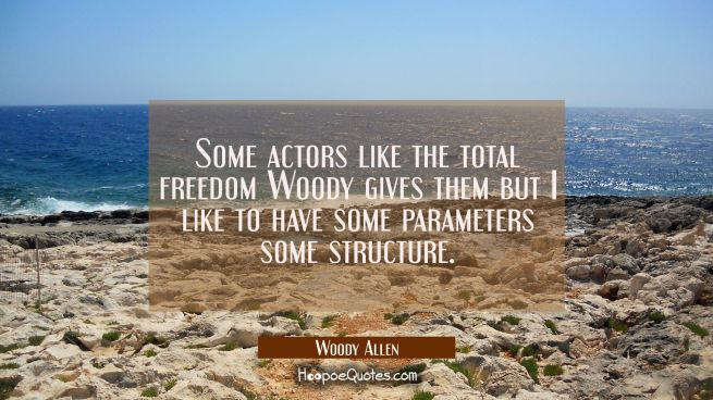 Some actors like the total freedom Woody gives them but I like to have some parameters some structu