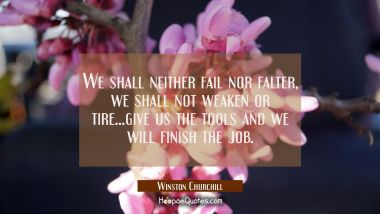 We shall neither fail nor falter, we shall not weaken or tire...give us the tools and we will finis