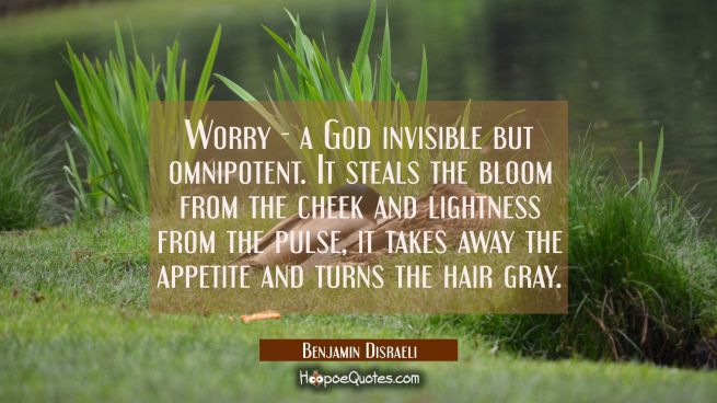 Worry - a God invisible but omnipotent. It steals the bloom from the cheek and lightness from the p