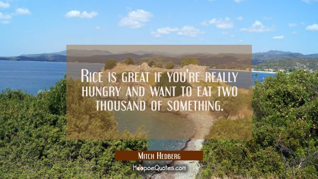 Rice is great if you're really hungry and want to eat two thousand of something.