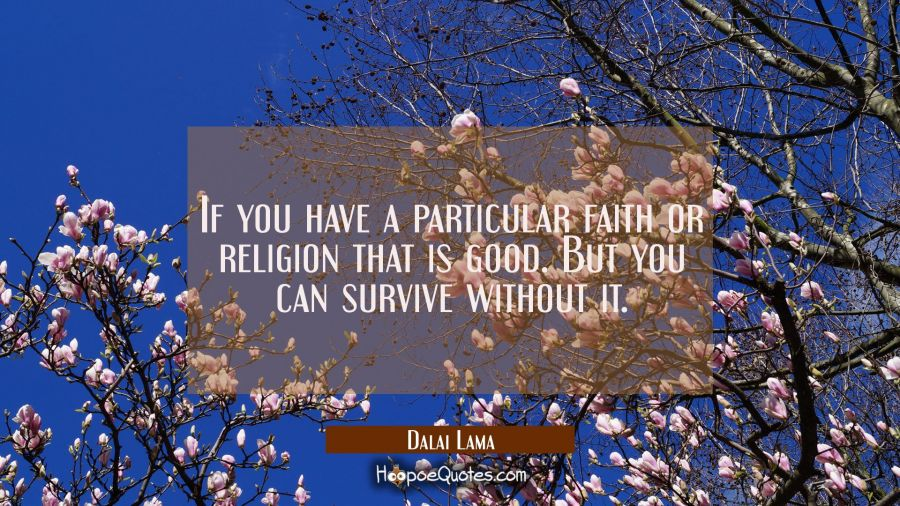 If you have a particular faith or religion that is good. But you can survive without it. Dalai Lama Quotes