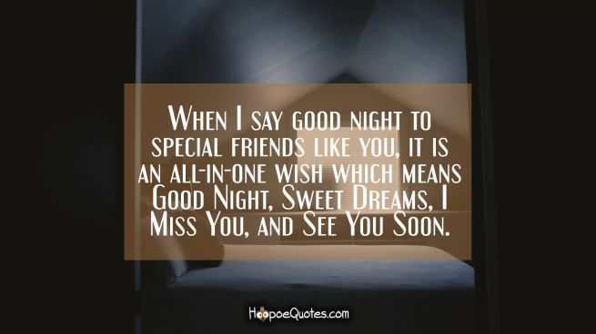 When I say good night to special friends like you, it is an all-in-one wish which means Good Night, Sweet Dreams, I Miss You, and See You Soon.