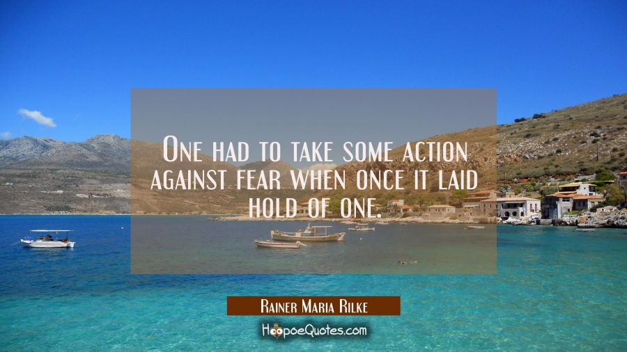 One had to take some action against fear when once it laid hold of one. Rainer Maria Rilke Quotes
