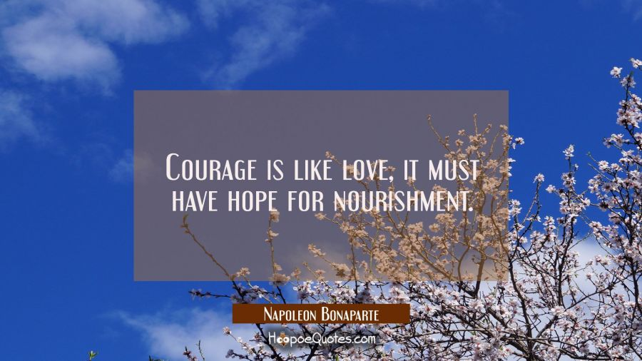 Courage is like love, it must have hope for nourishment. Napoleon Bonaparte Quotes