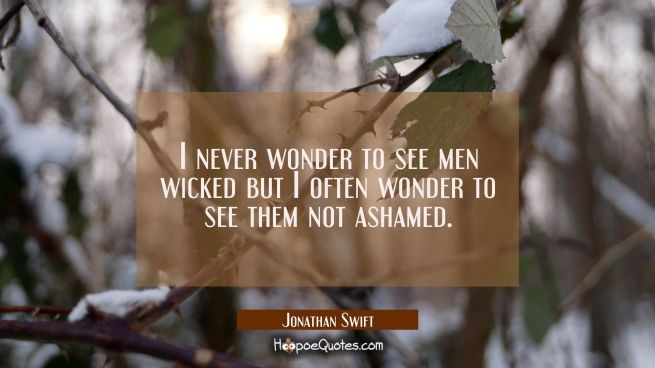 I never wonder to see men wicked but I often wonder to see them not ashamed.