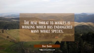 The real threat to whales is whaling which has endangered many whale species. Dave Barry Quotes