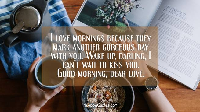 I love mornings because they mark another gorgeous day with you. Wake up, darling, I can't wait to kiss you. Good morning, dear love.