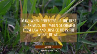 Man when perfected is the best of animals but when separated from law and justice he is the worst o Aristotle Quotes