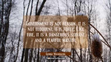 Government is not reason, it is not eloquent, it is force. Like fire it is a dangerous servant and