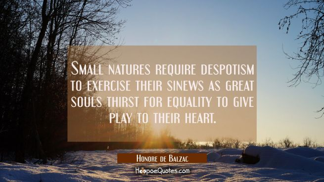 Small natures require despotism to exercise their sinews as great souls thirst for equality to give