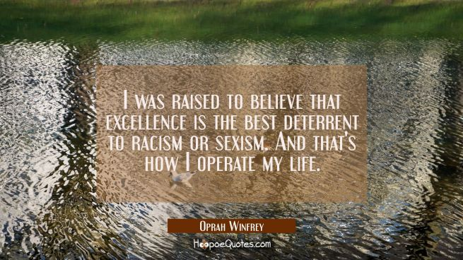 I was raised to believe that excellence is the best deterrent to racism or sexism. And that's how I