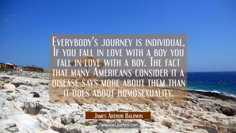 Everybody's journey is individual. If you fall in love with a boy you fall in love with a boy. The James Arthur Baldwin Quotes