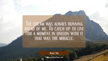 The dream was always running ahead of me. To catch up to live for a moment in unison with it that w