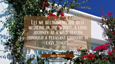 Let me recommend the best medicine in the world: a long journey at a mild season through a pleasant