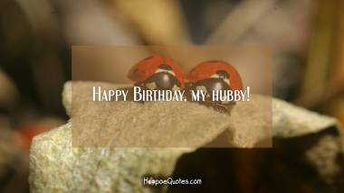 Happy Birthday, my hubby! Quotes