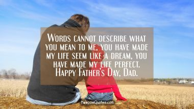 Words cannot describe what you mean to me, you have made my life seem like a dream, you have made my life perfect. Happy Father's Day, Dad. Father's Day Quotes