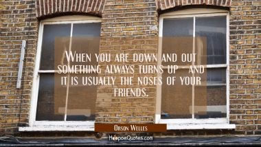When you are down and out something always turns up - and it is usually the noses of your friends.