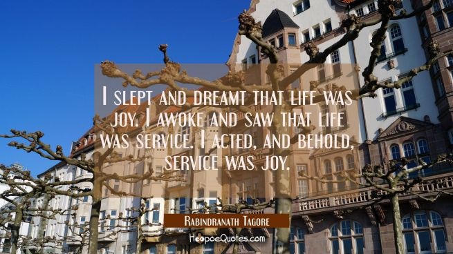 I slept and dreamt that life was joy. I awoke and saw that life was service. I acted and behold ser