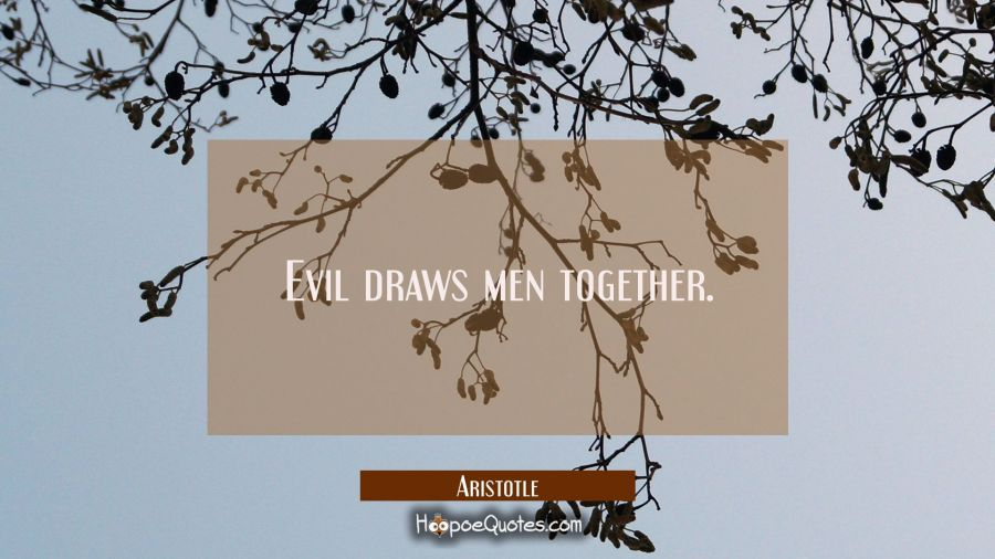Evil draws men together. Aristotle Quotes