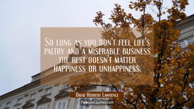So long as you don't feel life's paltry and a miserable business the rest doesn't matter happiness