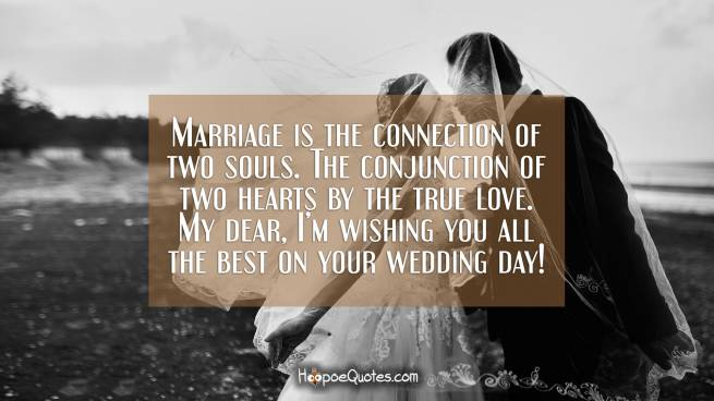 Marriage is the connection of two souls. The conjunction of two hearts by the true love. My dear, I'm wishing you all the best on your wedding day!