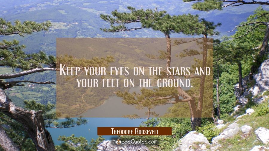 Keep your eyes on the stars and your feet on the ground. Theodore Roosevelt Quotes
