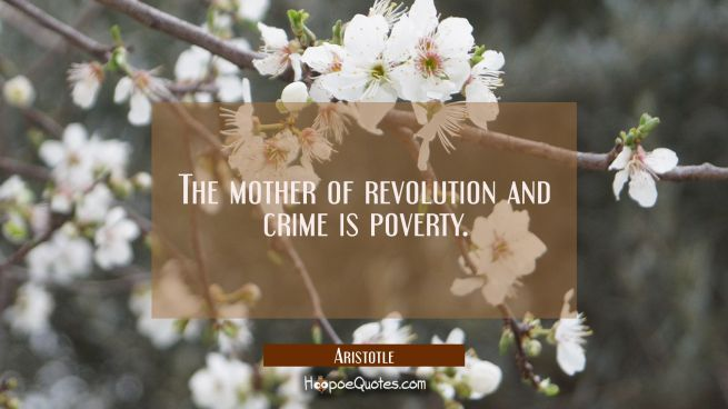 The mother of revolution and crime is poverty