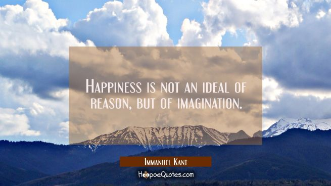 Happiness is not an ideal of reason but of imagination.