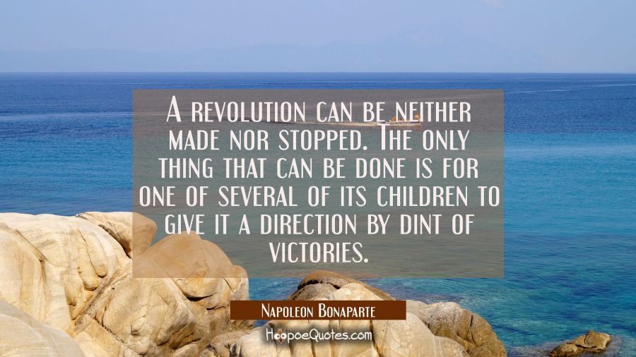 A revolution can be neither made nor stopped. The only thing that can be done is for one of several Napoleon Bonaparte Quotes