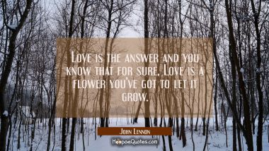 Love is the answer and you know that for sure, Love is a flower you've got to let it grow.