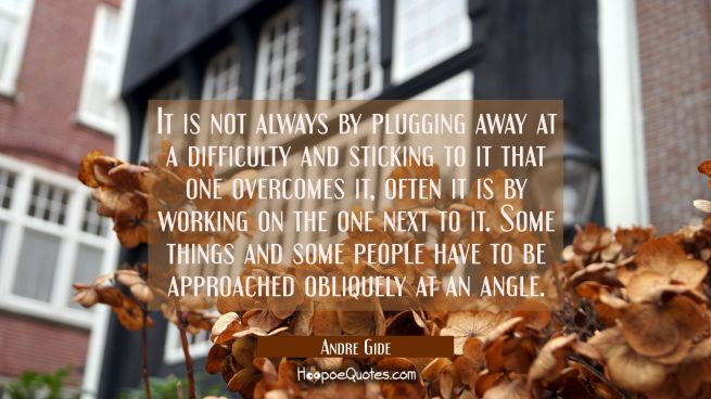 It is not always by plugging away at a difficulty and sticking to it that one overcomes it, often i