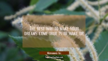 The best way to make your dreams come true is to wake up. Muhammad Ali Quotes