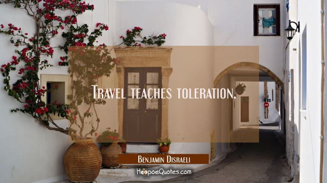 Travel teaches toleration.