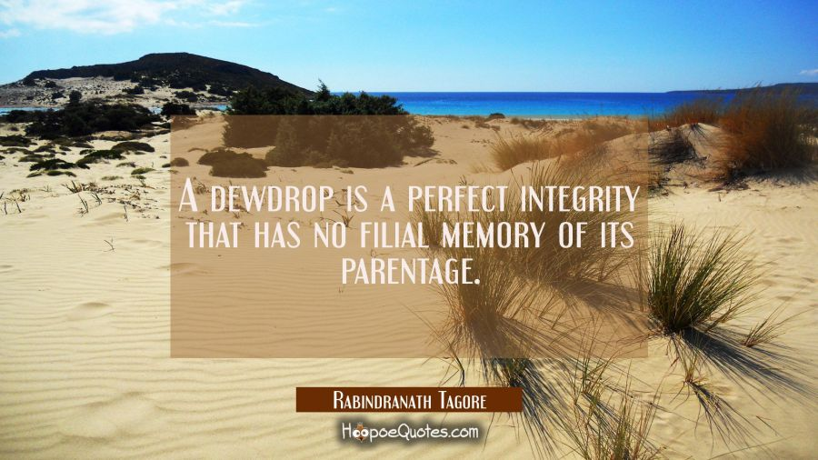 A dewdrop is a perfect integrity that has no filial memory of its parentage. Rabindranath Tagore Quotes
