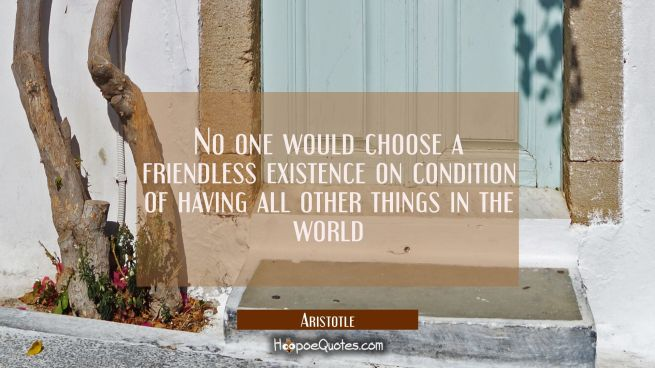 No one would choose a friendless existence on condition of having all other things in the world
