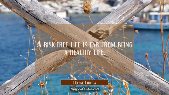 A risk-free life is far from being a healthy life.