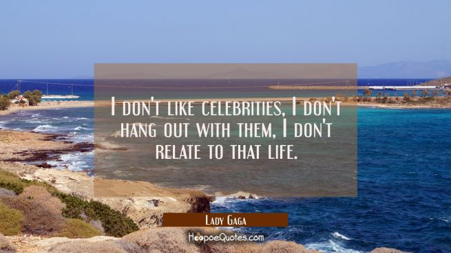 I don't like celebrities, I don't hang out with them, I don't relate to that life.