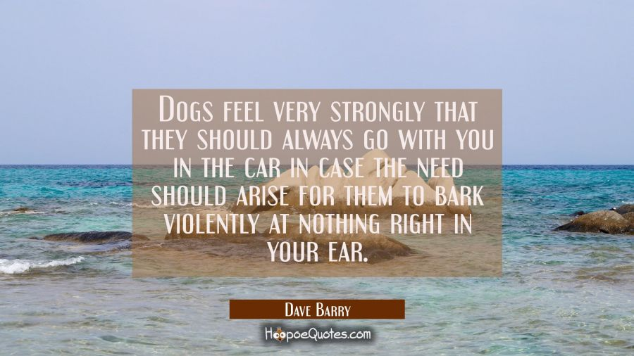 Dogs feel very strongly that they should always go with you in the car in case the need should aris Dave Barry Quotes