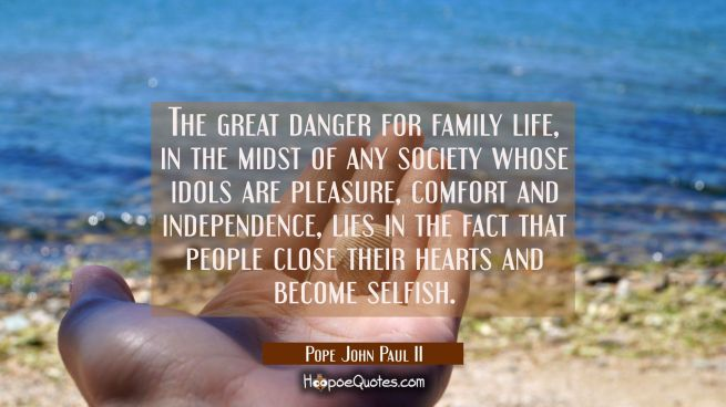 The great danger for family life in the midst of any society whose idols are pleasure comfort and i