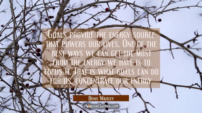 Goals provide the energy source that powers our lives. One of the best ways we can get the most fro