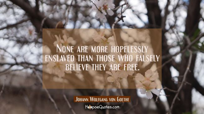 None are more hopelessly enslaved than those who falsely believe they are free.