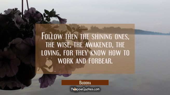 Follow then the shining ones the wise the awakened the loving for they know how to work and forbear