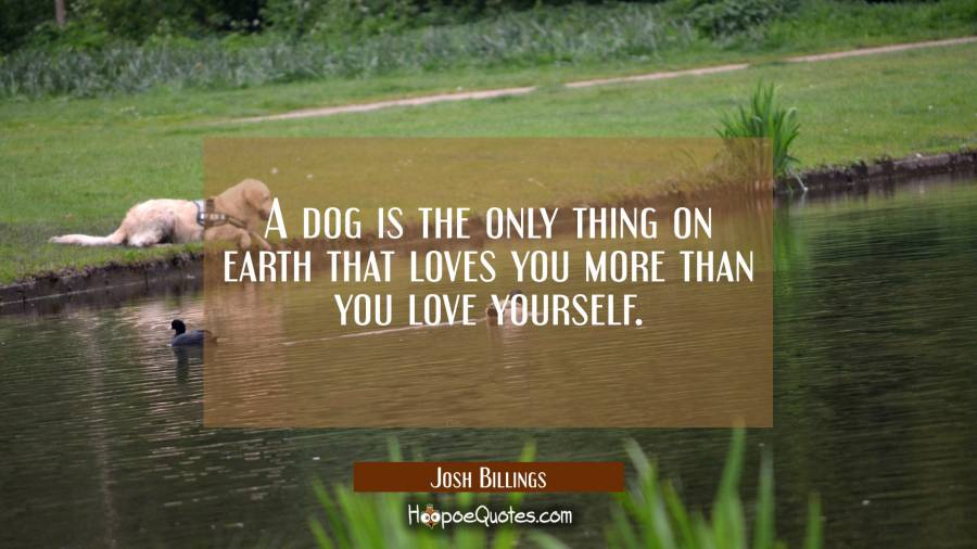 A dog is the only thing on earth that loves you more than you love yourself. Josh Billings Quotes
