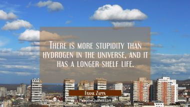 There is more stupidity than hydrogen in the universe and it has a longer shelf life.